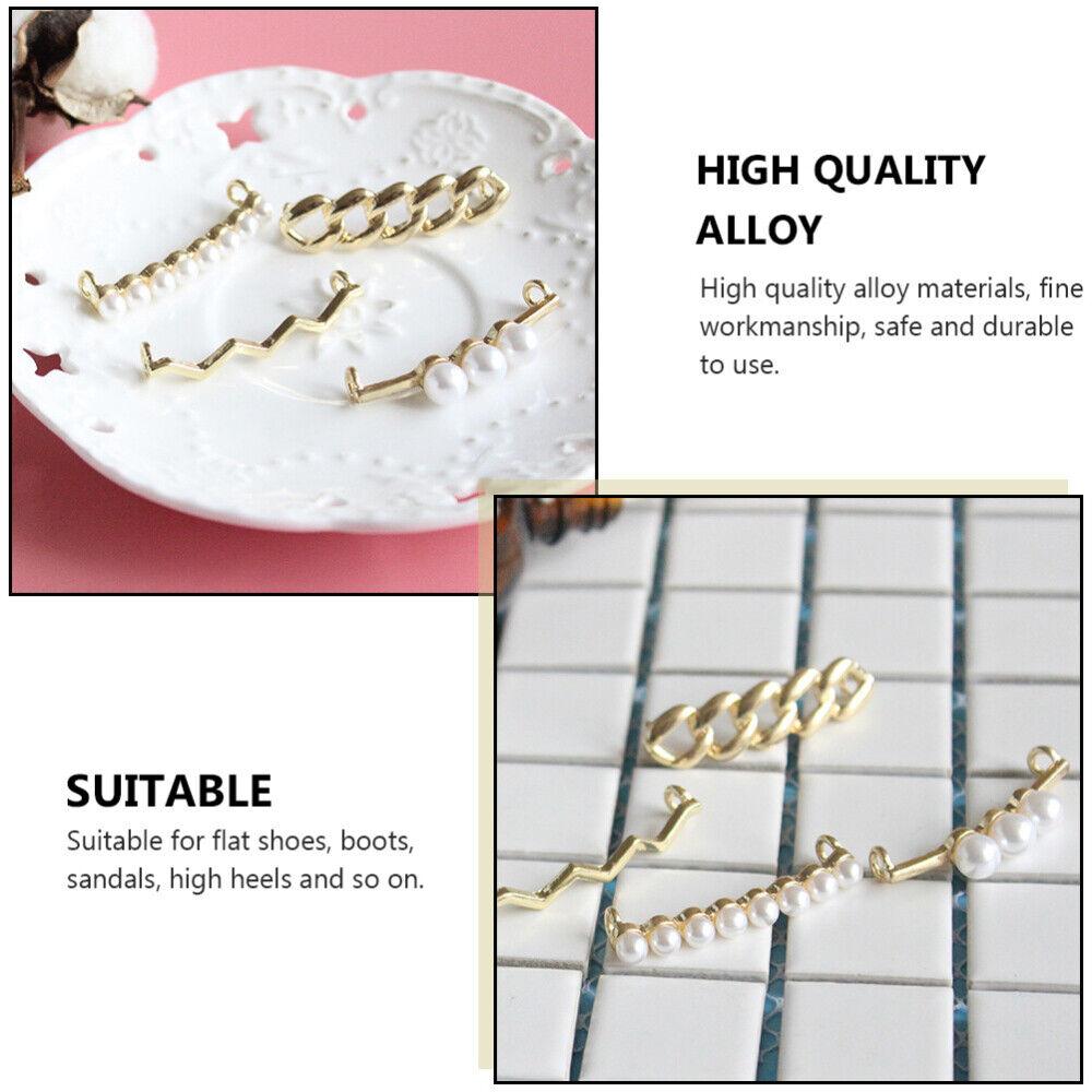 4pcs Shoe Decors Alloy Pearl Designed Shoes Clips for Party Wedding Women