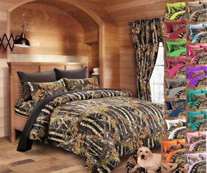 BLACK CAMO QUEEN 12 PC SET! COMFORTER SHEETS PILLOWCASES CURTAINS CAMOUFLAGE