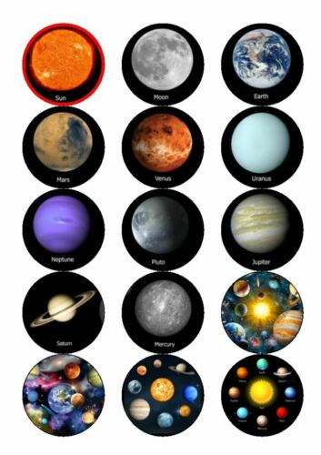 Planets Solar System Space Cupcake Toppers Easy Peel Icing Pre Cut 15 toppers