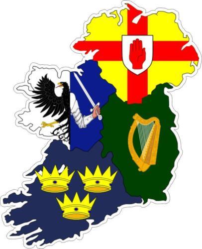 Autocollant sticker adhesif voiture vinyle drapeau carte irlande province