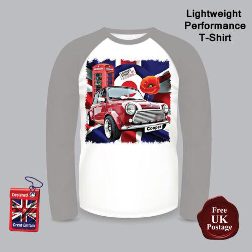 Camiseta Mini Cooper de manga larga para hombre de béisbol Camiseta Bandera de la Unión amapola,