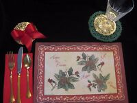 Christmas Hope Peace Holly Paper Place Mat Table Setting Napkin Doily 12 Sets