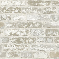 Grey and White Brick with Age Sure Strip Wallpaper RB4304