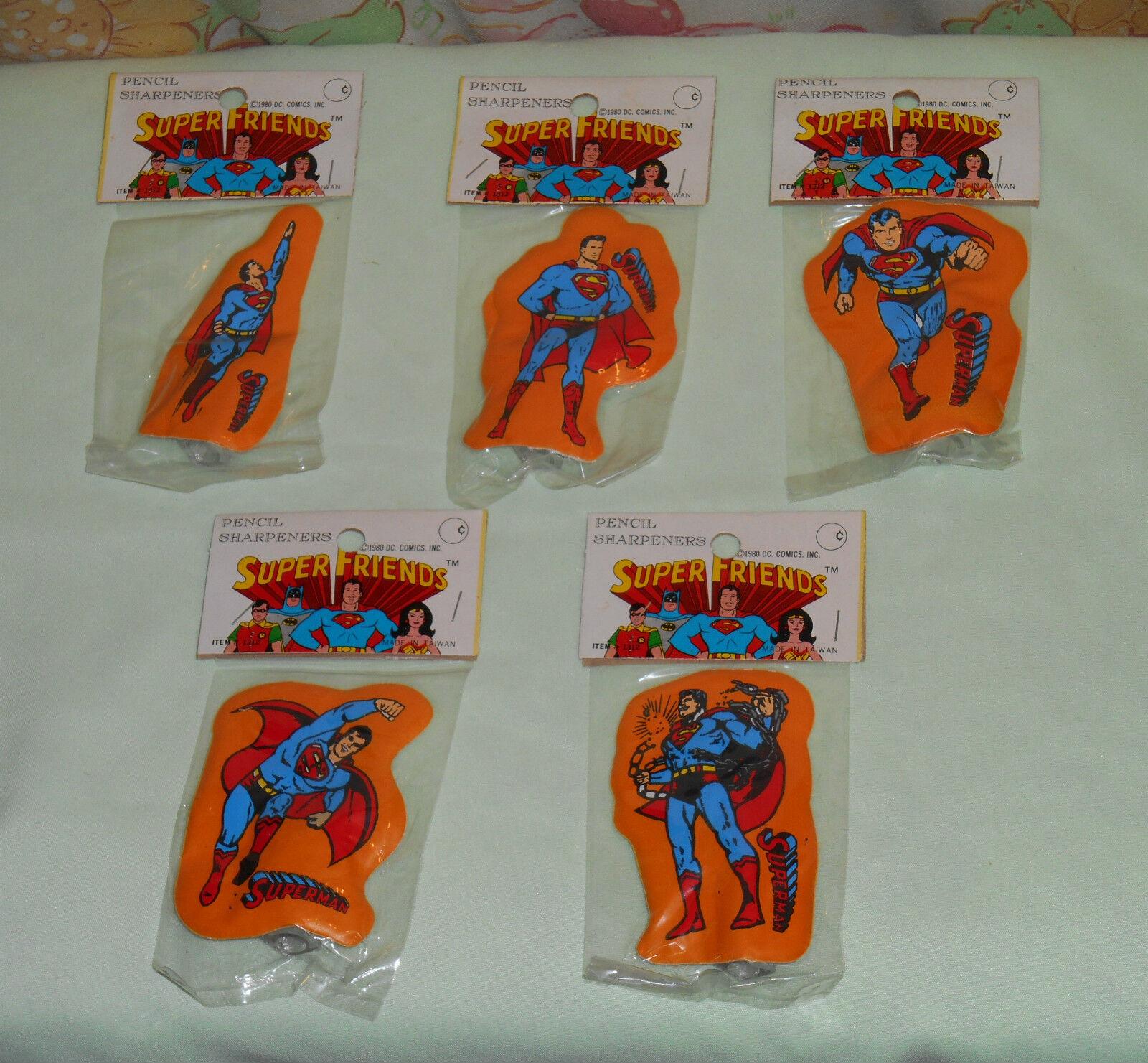 Vintage SUPER FRIENDS SUPERMAN SUPERMAN SUPERMAN PENCIL SHARPENER LOT x5 DIFFERENT MIP 323e74