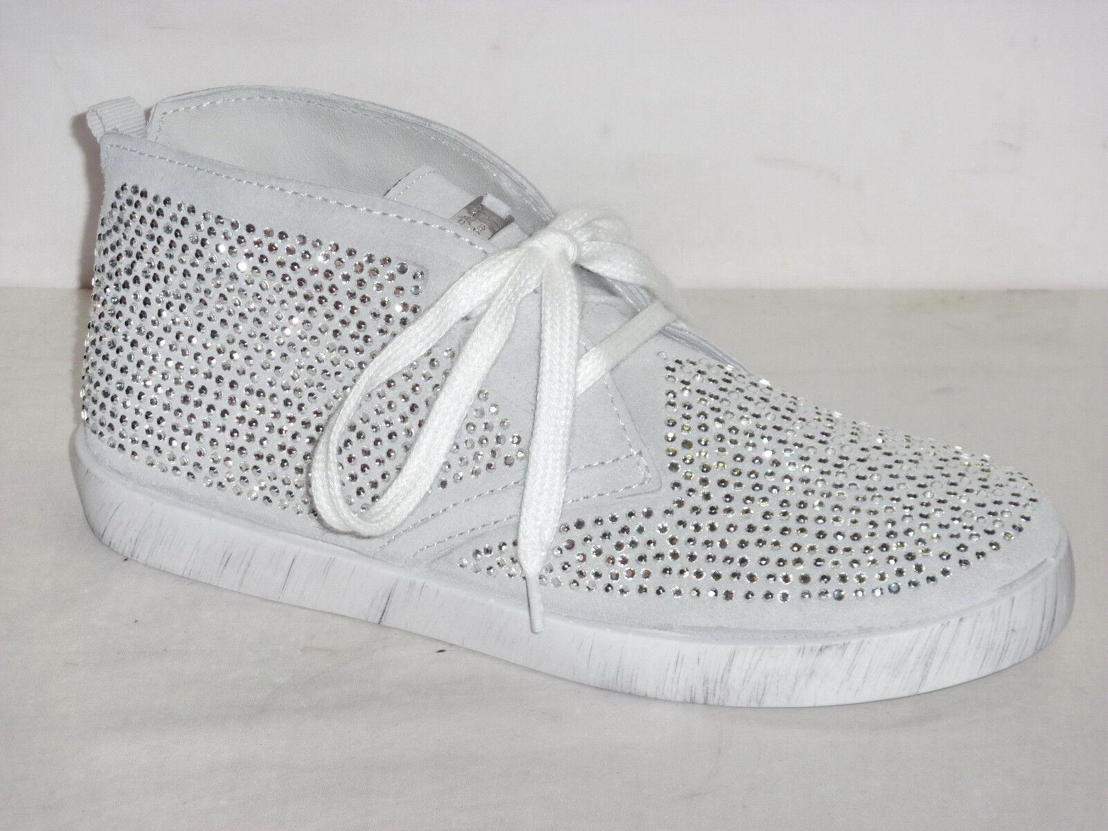 TOSCA azul zapatos TENNIS zapatillas mujer PELLE NABUK gris STRASS STRASS STRASS plata  n.39  toma