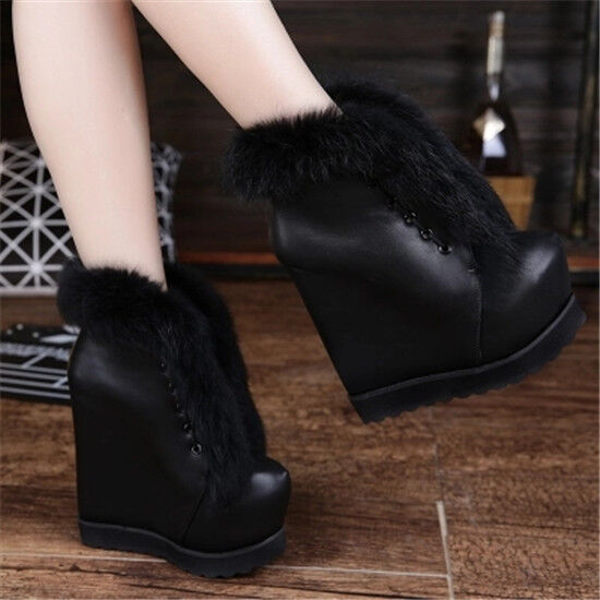 Womens Wedge Heels Platform Strappy Fur Trim Ankle Boots Winter Snow shoes Uk2-5
