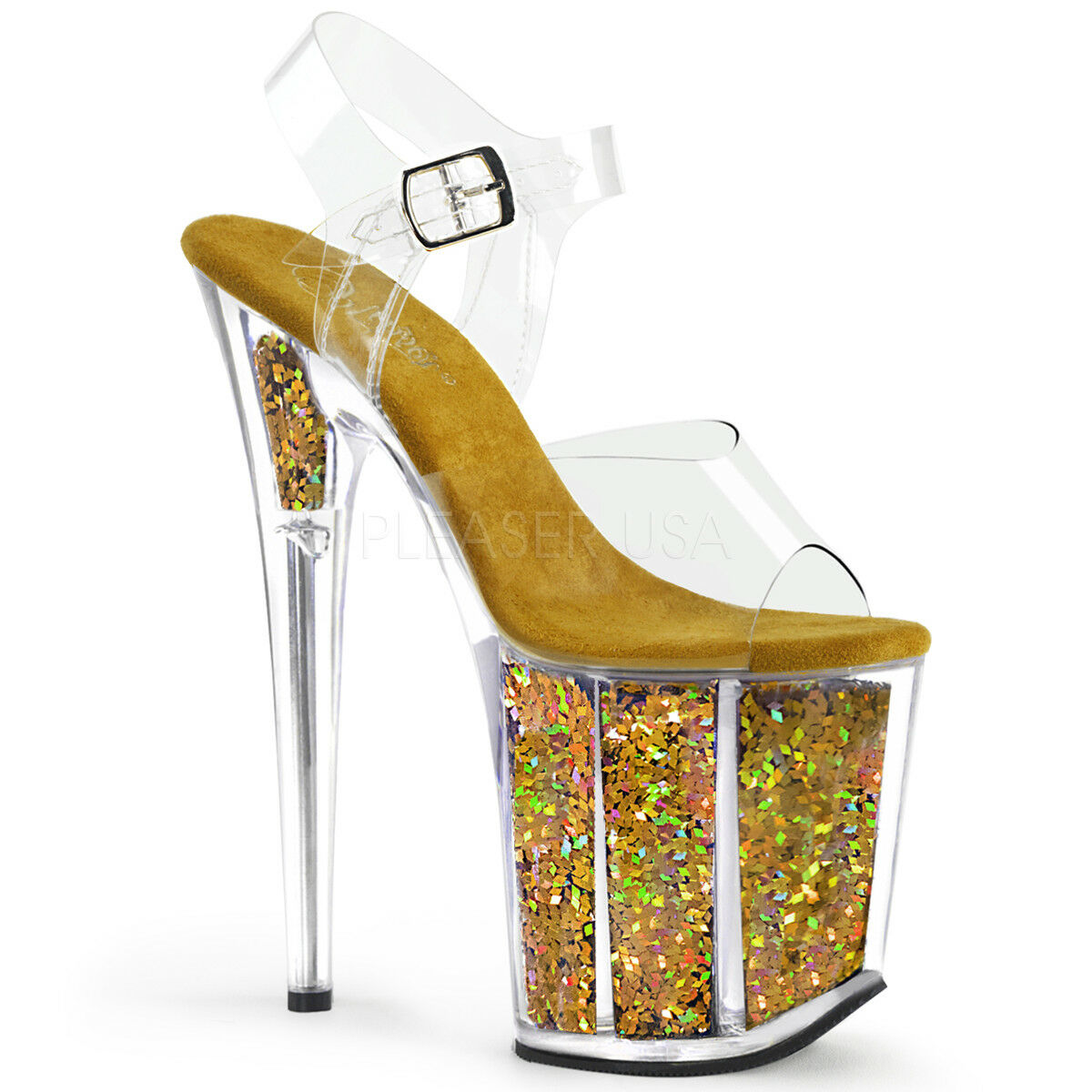 PLEASER Sexy 8  Heel Stripper gold Glitter Platform Clear Ankle Strap Pole shoes