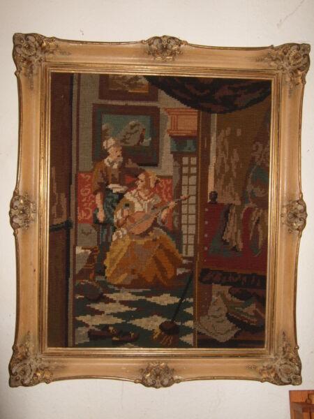 FäHig Antikes Gobelin Bild Stickerei Im Barock-rahmen 51 Cm X 61 Cm Handarbeit Modischer (In) Stil;