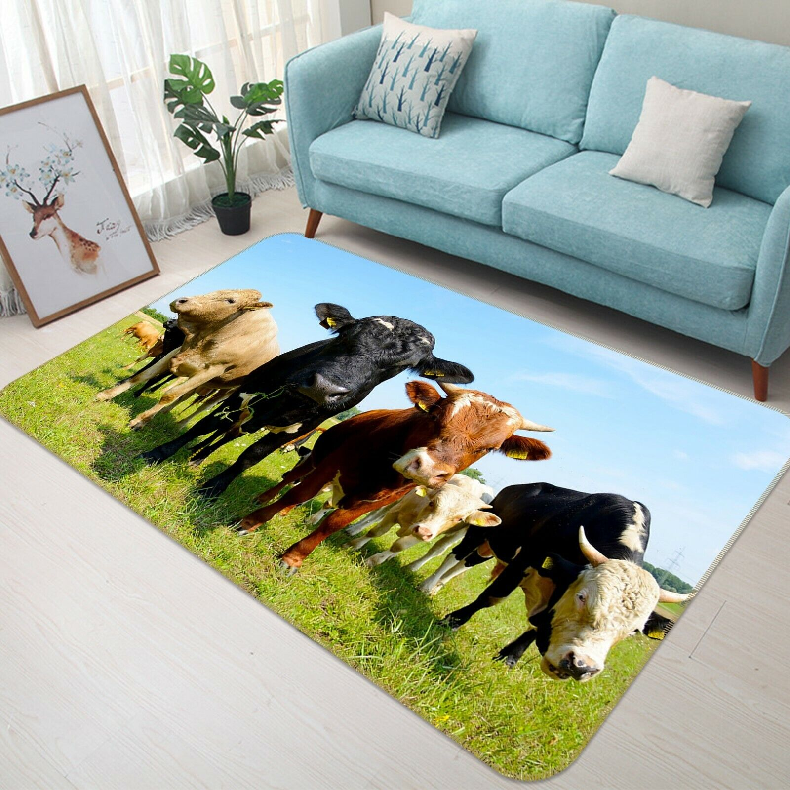 3D PAESAGGIO MUCCA SKY C048 Animale tappetino antiscivolo tappeto rossoondo elegante Tappeto Wendy