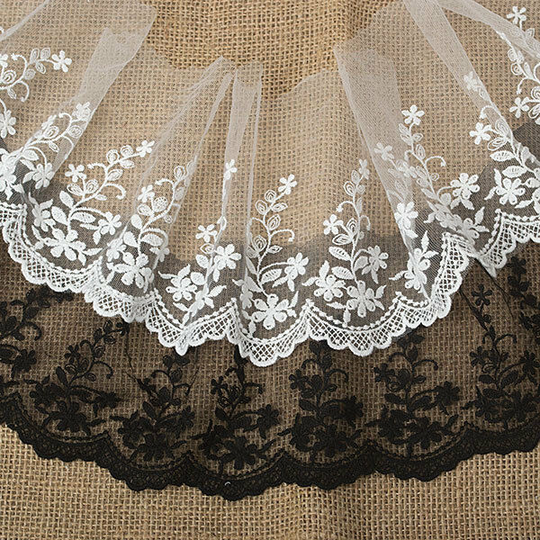 "5""*1yard delicate embroidered tulle lace trim for crafts DIY 2 colors"