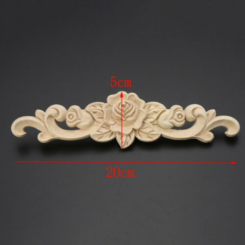 Furniture Wood Carved Flower Onlay Applique Sticker Art Decal Cabinet Door Decor