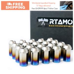 RTAMO | M14x1.5Px45L Titanium Gr5 Hex Open-End Wheel Lug Nut Brunt Blue 20pcs