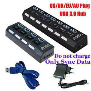 on-Off-Switches-AC-Power-Adapter-4-7-Port-USB-3-0-Hub-5Gbps-High-Speed-For-PC