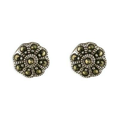 925 Sterling Silver Earrings- Stunning Marcasite Flower Stud Earrings-9mm-Boxed