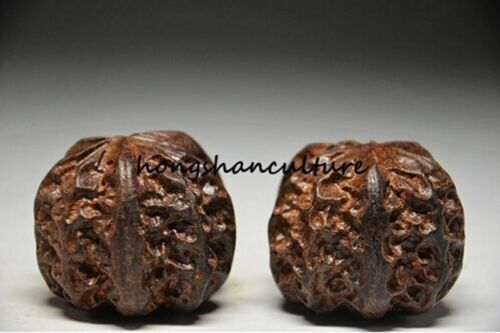 FINE CARVING STATUE A PAIR OF CHINESE AGARWOOD WOOD HAND BALL