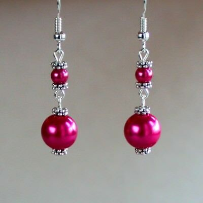 Hot Fuchsia Pink Pearl Vintage Silver Wedding Bridesmaid Bridal