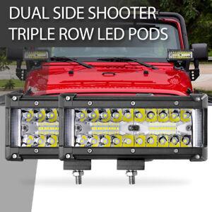 Side Shooter Led Pods,Auto Power Plus 300W 7 Inch Led Light Bar Spot Flood Combo Led Work light Triple Row Super Bright Off Road Driving Fog Lights CREE Led Cubes for Truck Jeep UTV ATV Boat 2PCS