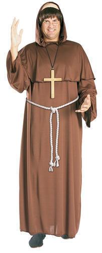 Wig Friar Tuck Mens Fancy Dress Robin Hood Medieval Priest Monk Costume Outfit