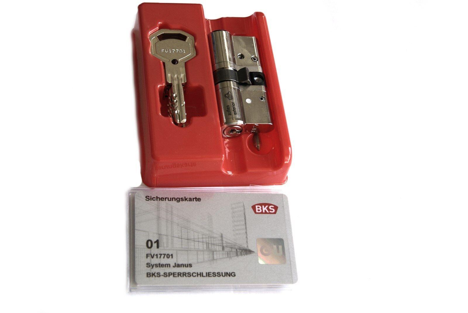 BKS Profilzylinder 46120026 mit GF BL31/31mm mit 5 Wendeschlüssel & SI-Karte