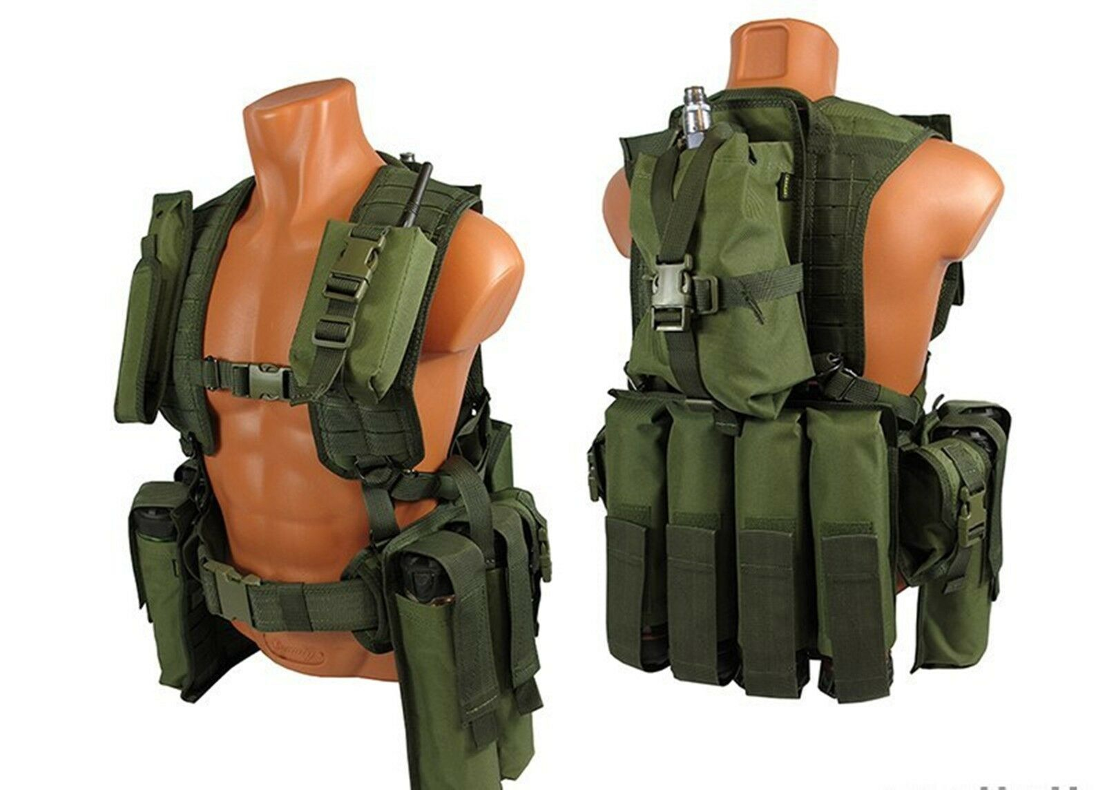verde OD MOLLE Pals Paintball Airsoft pecho plataforma modular Chaleco Oliva Kit № 35 Tanque