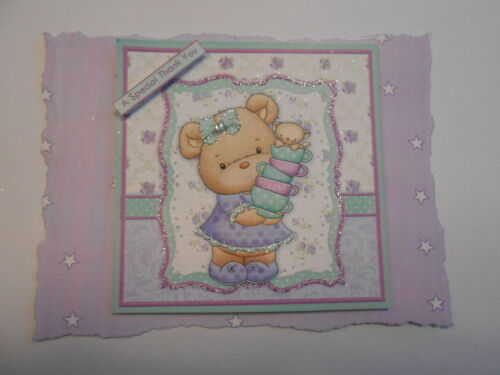 PK 2 TEACUP TEDDY EMBELLISHMENT TOPPERS FOR CARDS OR CRAFTS A SPECIAL THANK YOU