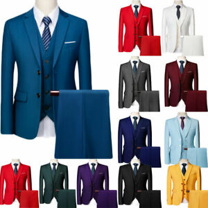 Mens Suits Sets 3 Pcs Slim Fit Coats Tuxedos Groom Groomsman Formal Work Casual