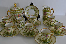 ANTIQUE EMILE BOURGEOIS LIMOGES TEA SET -8 CUPS WITH SAUCER,CREAMER,SUGAR BOWL