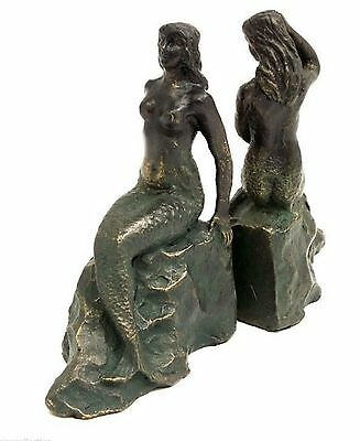 Set 2 Mermaid Bookends Cast Iron Nautical Decor Coastal Lonely Siren of the Sea