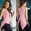 Women-Summer-Loose-Top-Cross-Fishtail-Back-Irregular-Blouse-Casual-Tops-T-Shirt thumbnail 8