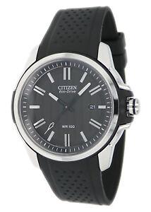 Citizen-Eco-Drive-Men-039-s-Silver-Tone-Case-Black-Poly-Band-45mm-Watch-AW1150-07E
