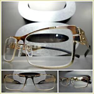 Men's CLASSY SOPHISTICATED Clear Lens EYE GLASSES Rectangular Gold Fashion Frame