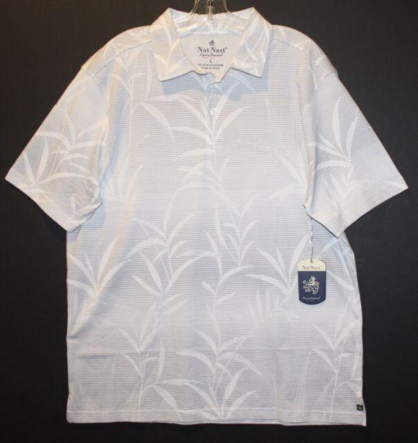 8e74370adc9 Nat Nast White Gray Striped Floral Polo Golf S s Collar Shirt Men ...