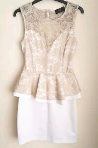 33b1231d8ef67 AX Paris White Gold Lace Open Back Peplum Party Evening Dress ...