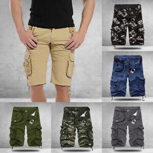 Homme-d-039-Ete-Casual-Short-de-Camouflage-Cargo-Milti-Poches-Short-Coton-Exterieur