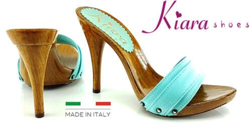 Made in Italy 35 al 42-KM7101 tacco 12 cm Zoccoli SMERALDO KIARA SHOES