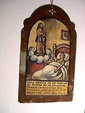 VTG 1957 MEXICAN RUSTIC HP TIN RETABLO WOMAN THANKS JESUS FOR HEALING HER LEGS