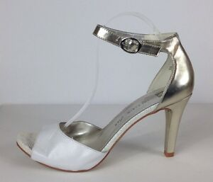 Anne Klein Iflex White And Gold Ankle Strap Heels Shoes