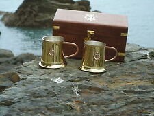 Whisky Handle Tankards Set Of 2 In A  Wooden Chest Nice Gift Whiskey Shot Box D2