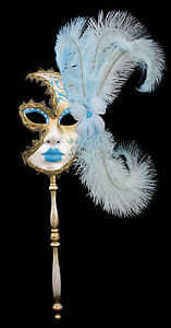 Maschera Di Venezia Per Bastone Piume Struzzo Blu-Oro-Carnevale venitien-1430