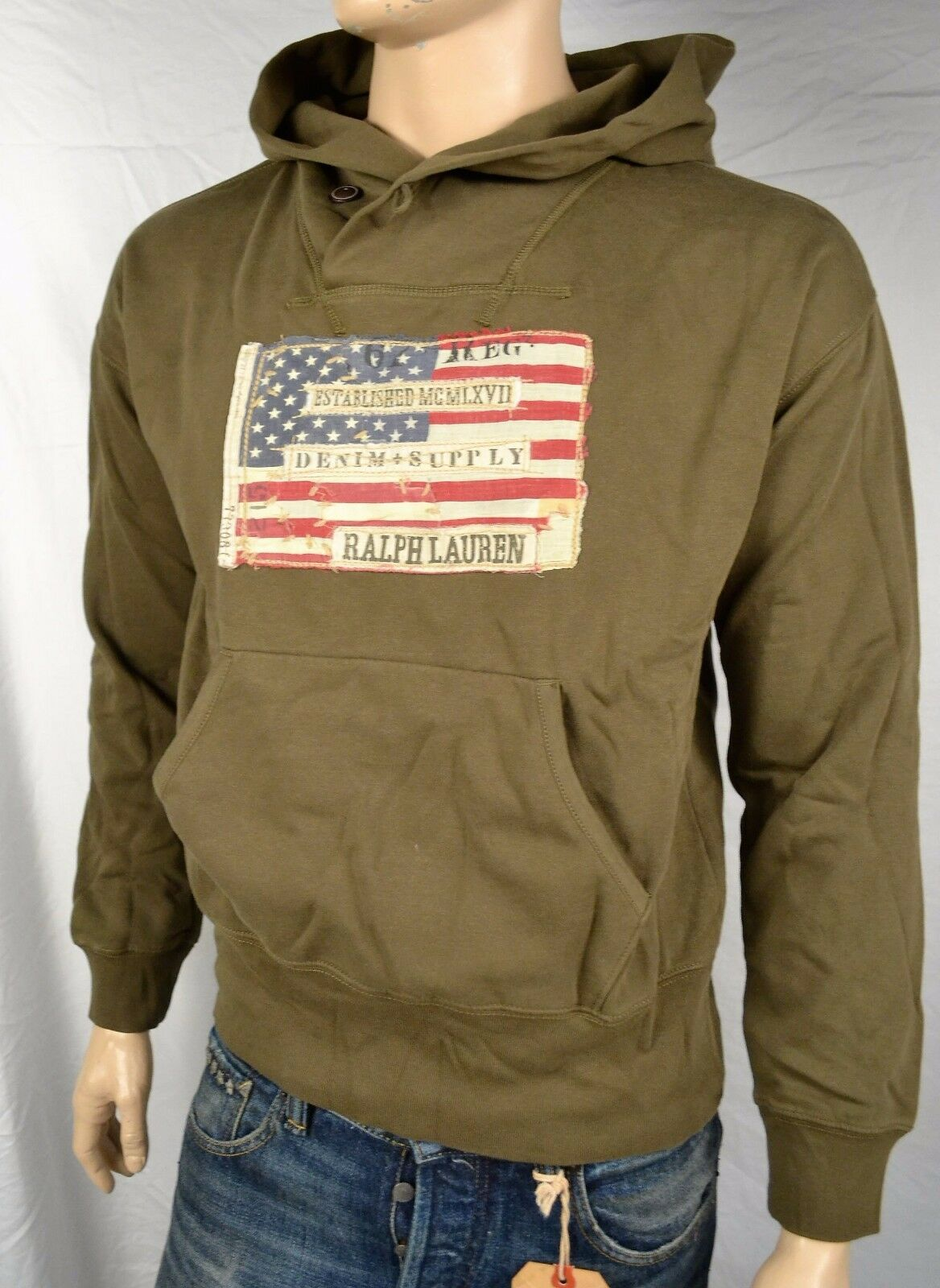 DENIM & SUPPLY RALPH LAUREN KHAKI Grün DISTRESSED USA PATRIOTIC HOODIE SWEATSHI
