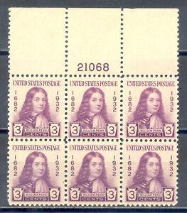 US-Stamp-L1632-Scott-724-Mint-HR-OG-Nice-Plate-Block-of-6