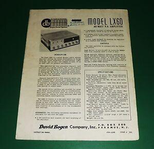 original bogen model lx60 manual ebay rh ebay com Bogen Amplifiers Schematics Hf-10A Bogen 250 Amplifier Back