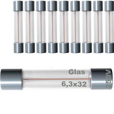 10x Sicherung Glas Glassicherung Feinsicherung 6,3x32mm T bis 250V 4A träg träge