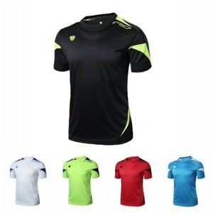 Men-039-s-Short-Sleeve-Quick-Dry-T-Shirt-Soccer-Sports-Running-Workout-Gym-Wear-Tops