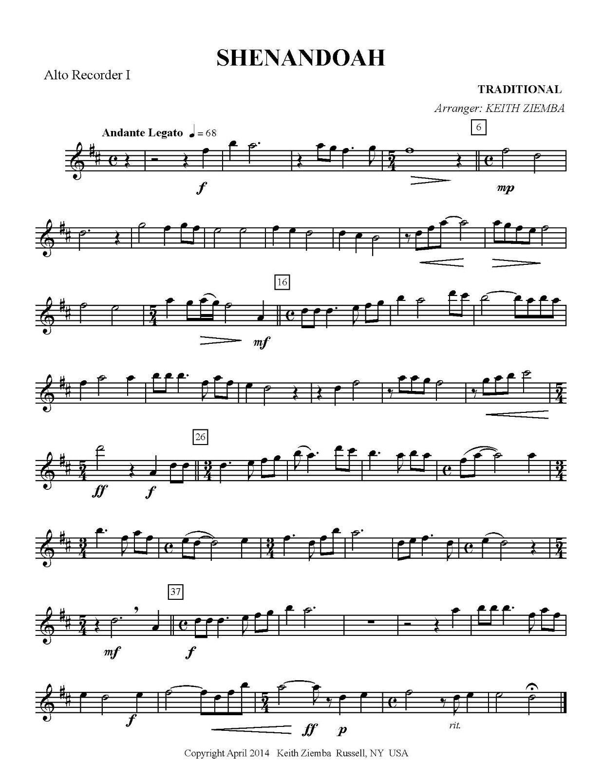 2 Alto Recorder and bass recorder or cello NEW Shenandoah Recorder Trio