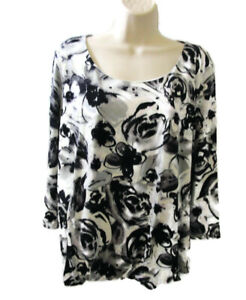 Rose-amp-Olive-womens-top-size-XL-black-white-floral-blouse-3-4-sleeves-stretch