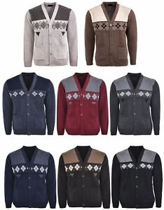 Men-039-s-Knitted-Cardigan-Classic-Style-V-Neck-Button-WITH-POCKETS