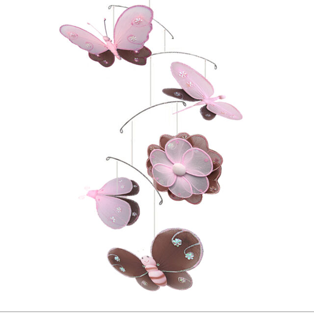 Butterfly Dragonfly Ladybug Bee Flower Hailey Brown Pink Nursery Hanging Mobile