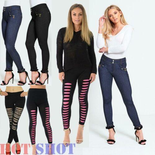 Da Donna Jeans Attillati Strappati pantaloni leggings, jeans stretch matita pantaloni slim HOT