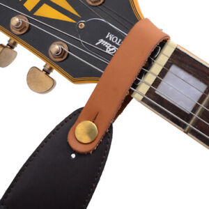 Leather-Guitar-Strap-Holder-Button-Safe-Lock-Black-for-Acoustic-Electric-sp